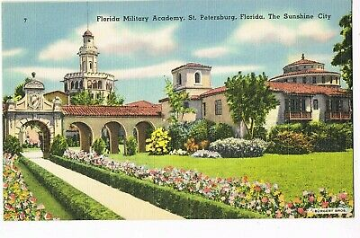 LINEN Postcard       FLORIDA MILITARY ACADEMY  -  ST. PETERSBURG, FL