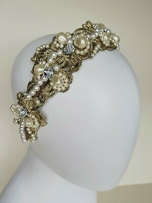 Vintage Antique Gold embroidered Tiara Headband,Bridal Hair Flowers,cream pearls