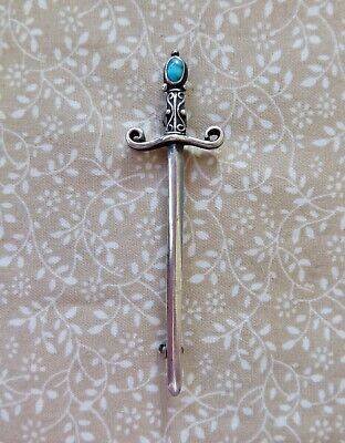 Unusual Victorian Arts & Crafts Silver & Turquoise Sword Brooch