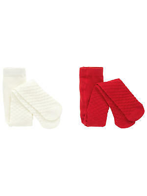 John Lewis Baby Waffle Knit Tights Pack of 2 Cream/Red 2-3 Years Brand New
