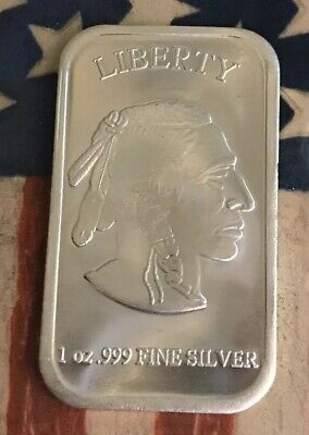 Liberty Indian Head / Buffalo 999 Fine Silver 1 Oz Proof Silver Bar #XE33 Sharp