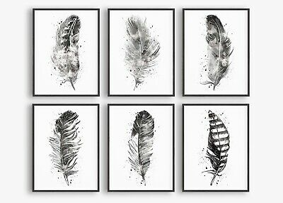 Feather Wall Art Prints, Feathers Wall Art Decor, Black Grey Feathers Poster