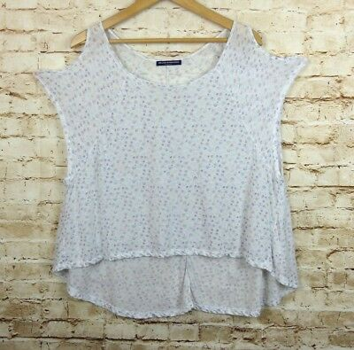 a6ae50aeb99 Brandy Melville One Size Cold Shoulder Cutout White Floral Hi Low Sheer  Thin Top