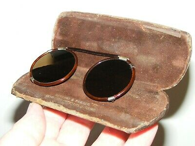1940/50's Faux Tortoiseshell Round Clip On Sunglasses Hepting & Farrer Stirling
