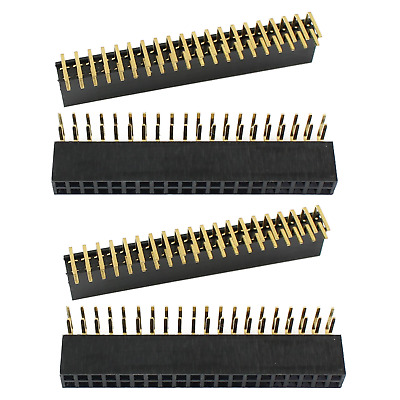 4 x 2.54mm Pitch 2x20 40 Pin Double Row Female Right Angle Header Socket Strip