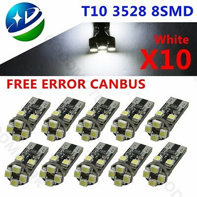 10x T10 501 ERROR FREE CANBUS 8 SMD LED XENON HID WHITE W5W SIDE LIGHT BULBS 12V