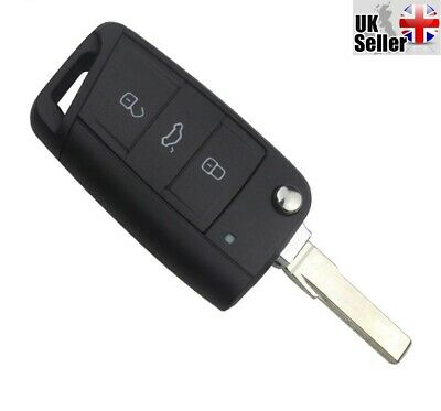 """Replacement 3 Button Flip Key For VW Volkswagen Golf MK7 2012 & More """"WITH LOGO"""""""