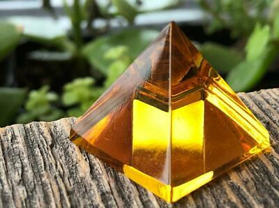 Vtg Amber Crystal Glass Pyramid Cabs Crafts Egyptian Revival Jewelry Figurine