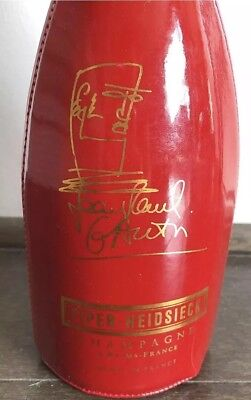 JEAN PAUL GAULTIER Red Lace-Up Corset Champagne Bottle Cover for PIPER-HEIDSIECK