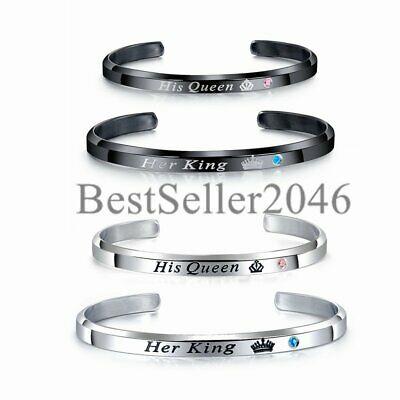 2PCS Stainless Steel His Queen Her King Couple Lovers Matching Cuff Bracelet SET