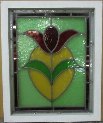 "OLD ENGLISH LEADED STAINED GLASS WINDOW Gorgeous Bordered Floral 16.5"" x 20"""