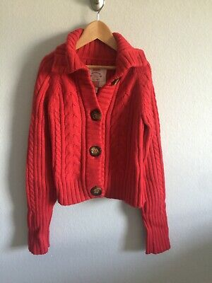 94154aa7b47 Gap Kids Girls Cardigan Sweater Button Front Cable Knit Red Size XXL 14-16