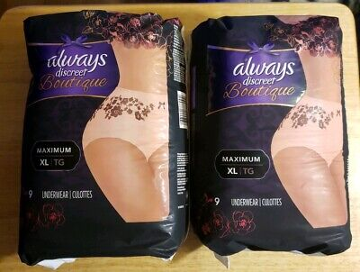 Lot of 2 Always Discreet Boutique Max XL Incontinence  9 pack Underwear.
