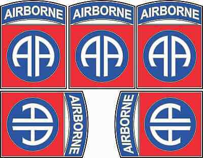 [5x] 1.5in x 2in Eighty-Second Airborne Stickers Vinyl Military Decals