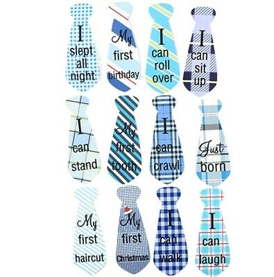 Baby Firsts Milestone Stickers Photoprops Blue White Boy Girl Fun Tie
