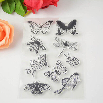 DIY Paper Craft Scrapbooking Butterfly And Bee Rubber Stamp Transparent Clear