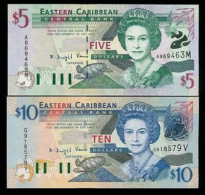 East Caribbean States ND 1994 $5 & $10 P. 31m & 32v QEII Notes UNC