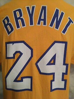 e7dd8bf493b KOBE BRYANT adidas NBA  24 Yellow T-Shirt Los Angeles Lakers Men s Size M