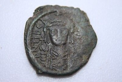ANCIENT BYZANTINE TIBERIUS II CONSTANTINE BRONZE FOLLIS COIN 6th CENTURY AD