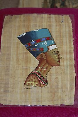 2 medium Egyptian Papyrus Paintings handmade in Egypt about 25 years ago (No 7)