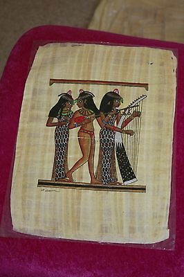 2 medium Egyptian Papyrus Paintings handmade in Egypt about 25 years ago (No 11)