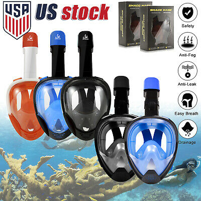 Anti-Fog Full Face Snorkel Mask Scuba Dry Diving Surface Swimming Snorkel Black