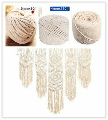 4/5/6mm Macrame Rope Natural Beige Cotton Thread Twisted Cord Artisan Hand Craft