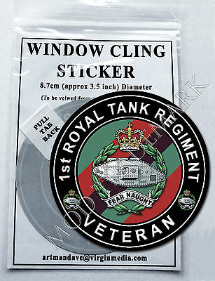 1st ROYAL TANK REGIMENT, VETERAN WINDOW CLING STICKER  8.7cm Diameter