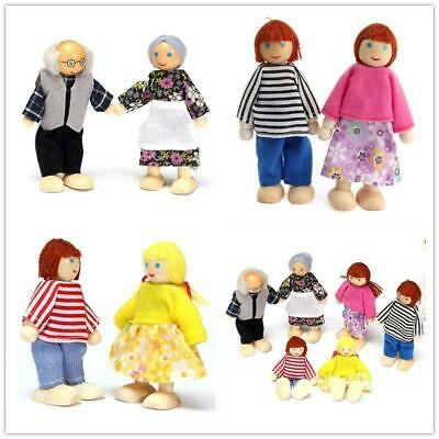 6Pcs Wooden Family Dolls Cute House Of 6 People Doll Set Toy Kid Gift Home Decor