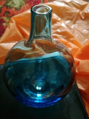 scandinavian blue glass vase height 9""