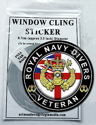 ROYAL NAVY DIVERS - VETERAN, WINDOW CLING STICKER  8.7cm Diameter