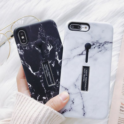 For iPhone X 8 7 6 Plus Phone TPU Marble Case Skin Cover With Ring Stand Holder
