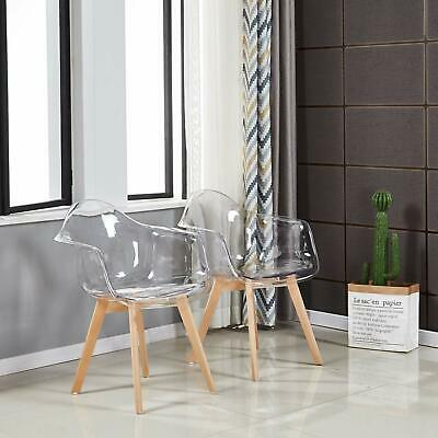 2PCS Plastic Transparent Clear Dining Chair Lounge Armchair With Beech Wood Leg