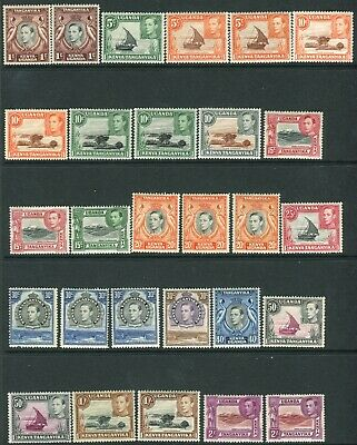 K.U.T-1938-54 mounted mint set to £1 with all listed perf varieties Sg 131-150b