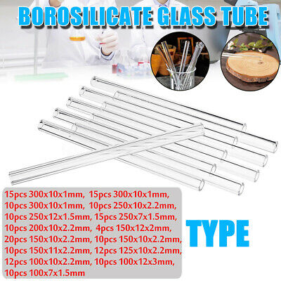 10/15/20Pcs 200/250/300mm Thick Borosilicate Tubing Glass Pyrex Blowing Tube Lab