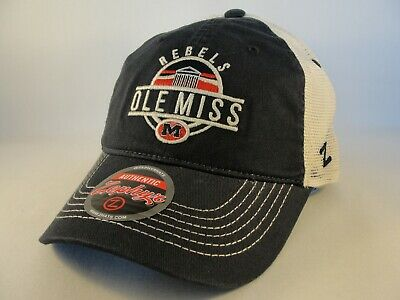 4205792a5 OLE MISS REBELS Hat Trucker Style Mesh Back Adjustable Snap Cap By ...
