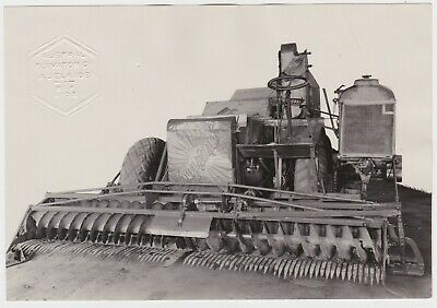 Massey Harris Sunshine Combine Harvester large OLD photograph for Agent 1940's
