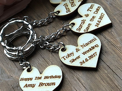 Personalised Keyring, Save the Date Heart, Wedding Guest Gift, Engagement Party