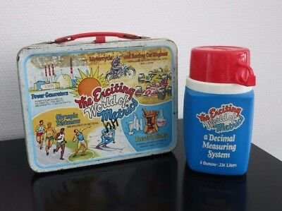 VINTAGE LUNCH BOX + THERMOS_The Enciting World of Metrics_USA 1976_Alladin_Metal