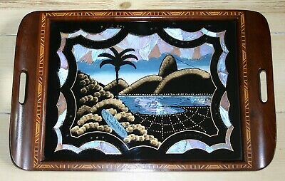 """Antique Art Deco Iridescent Butterfly Wings Rio Wooden Inlaid 20 1/2"""" Tray"""