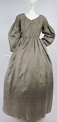 1830'S Silk Dress W Heavy Ruched Puff Gigot Sleeves W Linen Lining As Presented