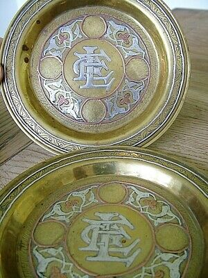 2x ANTIQUE PERSIAN ISLAMIC DAMASCUS CAIROWARE OTTOMAN SILVER INLAID BRASS DISHES
