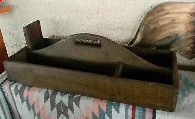 """Old Antique Wooden 25"""" Carpenters Tool Saw Carrying Nail Box Tote"""
