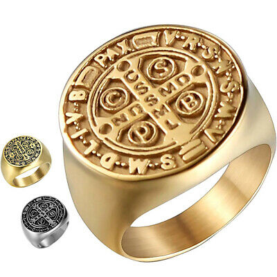 96cdf1705bd St Benedict Ring Gold Cross Silver Medal Catholic Mens Stainless Steel Size  7-15
