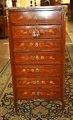 Late 1800s French Satinwood Inlaid Marble Top Inlaid Lingerie Tall Dresser Chest