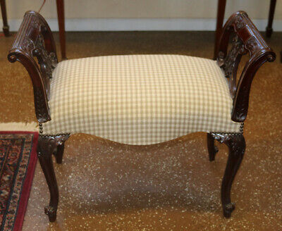 Gorgeous Solid Mahogany Vanity Stool Bench Music Stool New Upholstery MINT
