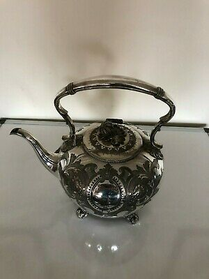 Victorian  Highly Decorated Silver Plated Kettle On 4 Splayed Feet