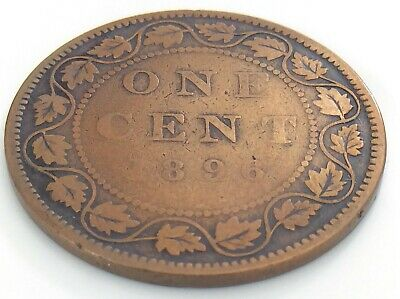 1896 Canada 1 One Cent Large Penny Copper Circulated Victoria Cleaned Coin J462