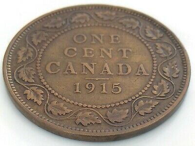 1915 Canada 1 One Cent Large Penny Copper Circulated George V Coin J466