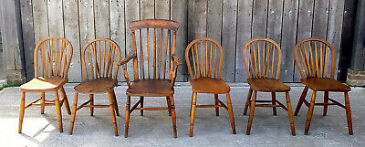 Set of Six Ash and Elm Country Chairs